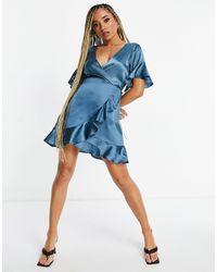 AX Paris Синее Атласное Платье Мини С Оборками Bridesmaid-голубой - Синий