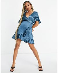 AX Paris Bridesmaid Satin Ruffle Mini Dress - Blue