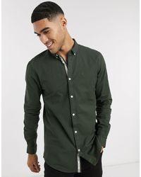River Island Оксфордская Рубашка Цвета Хаки С Длинными Рукавами -зеленый