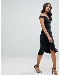 Lipsy Robe portefeuille style Bardot avec ourlet asymétrique - Noir