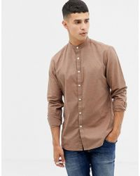 Farah Steen Slim Fit Grandad Collar Textured Shirt In Brown