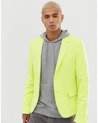 ASOS Skinny Crop Blazer In Yellow