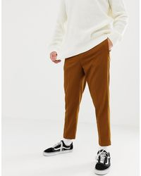 ASOS Heavyweight Tapered Crop Smart Pant With Pleats In Camel - Natural