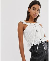 Fashion Union - Lace Crop Top With Wooden Ties - Lyst
