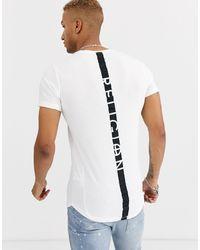 Religion – es T-Shirt mit Zierstreifen am Rücken und abgerundetem Saum - Weiß