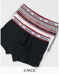 Reebok Confezione da 3 boxer aderenti color nero bianco e grigio - Multicolore