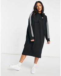 adidas Originals Adicolor Three Stripe Hoodie Dress - Black