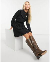 Oasis Broderie Bib Skater Dress - Black