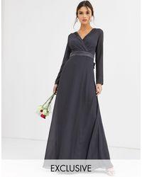 TFNC London Bridesmaid Long Sleeve Maxi Dress With Satin Bow Back - Gray
