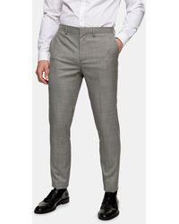 TOPMAN Pantaloni da abito skinny grigi - Grigio