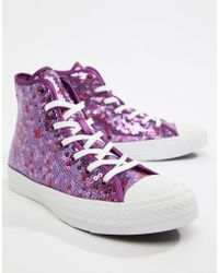 05685c0923dee1 Lyst - Converse Chuck Taylor All Star Hi Silver And Gold Sequined ...