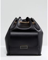 Park Lane Backpack With Chain Straps And Front Pocket - Black