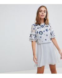 Frock and Frill - Premium Embellished Mini Tiered Skater Dress - Lyst