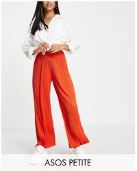ASOS Asos Design Petite Plisse Wide Leg Trouser - Red