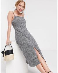 Warehouse Disty Floral Print Midi Cami Dress - Black