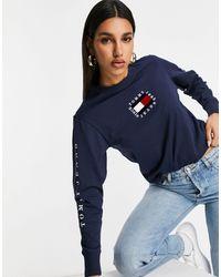 Tommy Hilfiger - T-shirt a maniche lunghe con bandiera blu navy - Lyst
