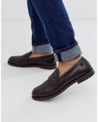Farah Leather Woven Loafer In Brown