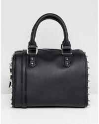 Faith - Black Studded Bowler Bag With Cross Body Strap - Lyst