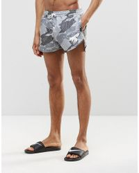 Abuze London Short Swim Shorts In Camo - Gray