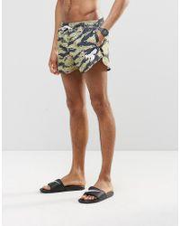 Abuze London Short Swim Shorts In Camo - Green