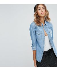 DESIGN denim western shirt with piping - Blue Asos Largest Supplier For Sale Free Shipping Good Selling lJu5ao