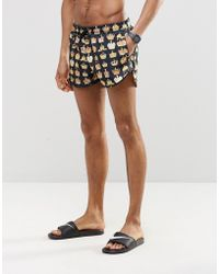 Abuze London - Short Swim Shorts In Crown Print - Lyst