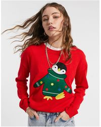 Brave Soul Maglia natalizia con pinguino - Rosso