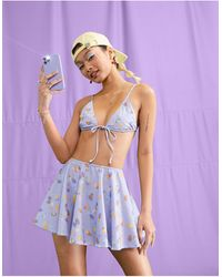Collusion Recycled Swim Skirt - Purple