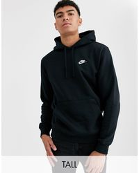 Nike Tall Club Hoodie In Black
