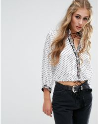 Native Rose - Polka Star Print Festival Wrap Crop With Floral Tape Detail - Lyst