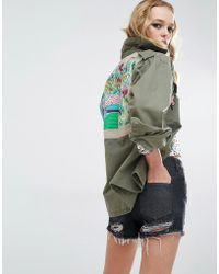 Native Rose - Festival Military Shirt Jacket With Embroidered Back Panel - Lyst