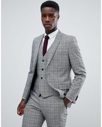 French Connection Heritage Prince Of Wales Check Slim Fit Suit Jacket - Gray