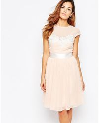 Elise Ryan Midi Skater Dress With Floral Lace Applique - Pink