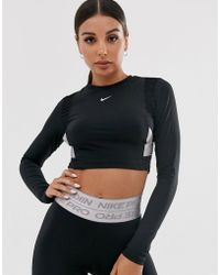 Nike Nike Pro Training Long Sleeve Top In Black With Taping Detail