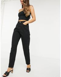 Missguided Riot High Waisted Recycled Denim Mom Jean - Black