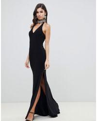 Forever Unique - Plunge Halter Neck Maxi Dress - Lyst