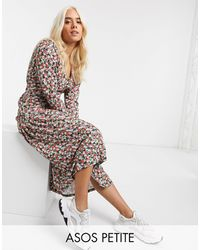 ASOS Floral Print Long Sleeve Maxi Tea Dress - Multicolor