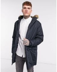 French Connection Faux Fur Hood Parka Jacket - Blue
