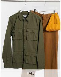 Another Influence Рубашка Навыпуск Цвета Хаки В Стиле Милитари От Комплекта Tall-зеленый