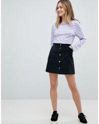 Monki - Denim Button Through Skirt - Lyst