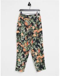 Oasis Printed Peg Leg Trousers - Multicolour