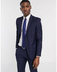 Ben Sherman Navy Windowpane Check Slim Fit Suit Jacket - Blue