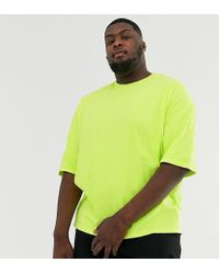ASOS Plus Oversized T-shirt With Half Sleeve In Washed Neon Yellow