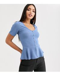 Missguided Ribbed Peplum Top In Blue