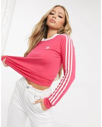 adidas Originals Adicolor Three Stripe Long Sleeve T-shirt - Pink