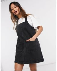 Monki Pinafore Dress - Black
