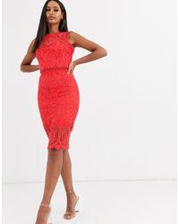Lipsy Кружевное Платье Миди -красный