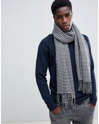 ASOS Blanket Scarf In Black & White Houndstooth