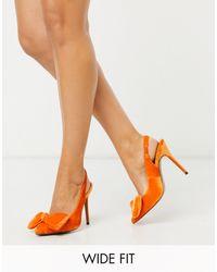 ASOS Оранжевые Бархатные Туфли Для Широкой Стопы На Шпильке С Ремешком Через Пятку И Бантом - Оранжевый