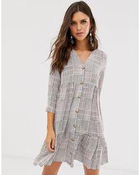Warehouse Свободное Ярусное Платье В Клетку -мульти - Многоцветный